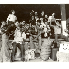 Vintage 1976. Groups of pickers expect their employers in the makeshift center Narbonne station. Photographer: PL Modéjar