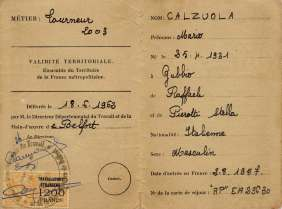 Permission to work released in France to Mario Calzuola, born in Gubbio (Italy) in 1931, migrated from Rome to France in 1957, where he worked as a Lathe Machinist. France, 18th June 1962.