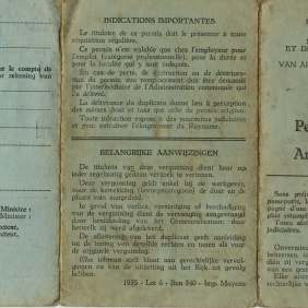 "Permission to work of type ""A"" and ""B"", one-year long duration, released by the Belgian Ministry of Work to Giuseppe Salamone (smelter), born in Aragaona (Agrigento , Italy) in 1930 and migrated to Belgium. Belgio, Louviere, 1956."