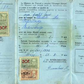 "Permission to work of type ""A"" and ""B"", one-year long duration, released by the Belgian Ministry of Work to Giuseppe Salamone (smelter), born in Aragaona (Agrigento - Italy) in 1930 and migrated to Belgium.Belgium, Louvriere, 1956."
