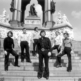 Spanish musical- vocal group in front of the Albert Memorial. London. 1972
