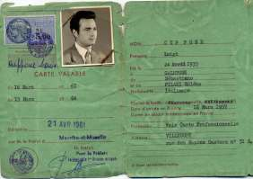 Permission to stay for 'ordinarily resident' released to Luigi Cuppone, born in Galatone (Lecce, Italy), married in Gubbio (Italy), and migrated to France during the '60s. France, Villerupt, 21st April 1961.