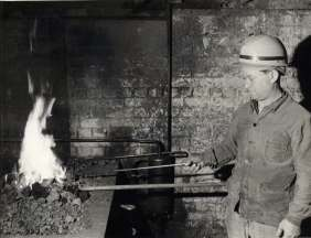 Italian emigrant in France working as a blacksmith. France, 1955.
