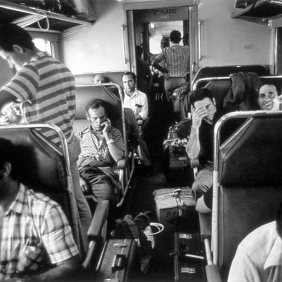 Spanish grape-gatherers in the train directed to Beziers. 1976 Photographer: Pablo L. Monasor