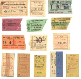Different kinds of tickets (cinema, underground, bus, tram). 1963-1964