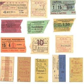 Different kinds of tickets (cinema, underground, bus, tram). 1963-1964