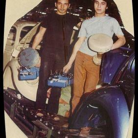 Salvatore Curto and Angelo at work.Wolfsburg 1964