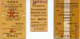 Several train tickets of 1964.
