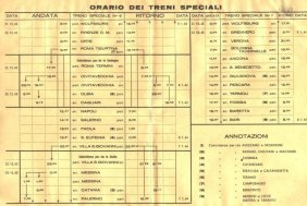 Special trains timetables leaving from Wolfsburg to Italy during Christmas Holidays in 1963.