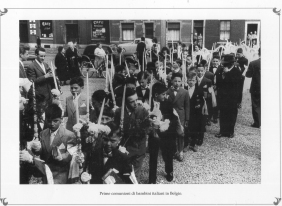 Italian childrens at their first communions.Belgium 1950 MBCA-Central Office for Library Heritage and Cultural Institutes, CSER, A suitcase full of America. Rome, The Hieroglyphics, 1992