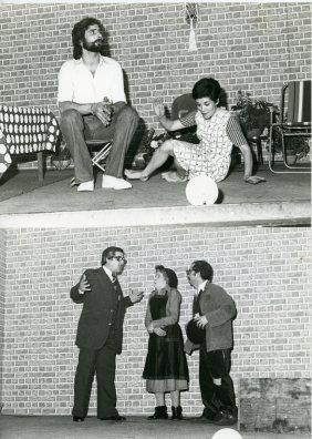 "The acting company ""La Barraca"" (the shack) of Federico Garcia Lorca club. The scriptwriter of the play, ""La Estanquera de Vallegas"" (The tobacco's factory of Vallegas). 1970-1975"