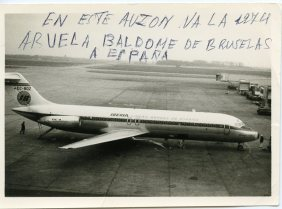 Brussels. The return airplane that Manuel's mother took to go to see her granddaughter who was born in 1974