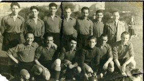 The first Spanish Civil War refugee football team at Club Federico Garcia Lorca in Brussels. 60's.