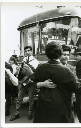Emigrants waiting to leave Spain by bus. Nuremberg 1966-1967
