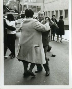 Emigrants waiting to leave Spain by bus. Nuremberg 1966-1967