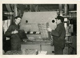 On the left: Manuel Mesa Lopez during one of the stage of the work with the press at Claas factory. Harsewinkel, Germany