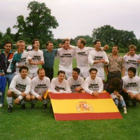 Spanish emigrants football team on the day when they passed to a superior category. Hersenwinkel. Germany
