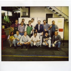 Manuel Mesa Lopez with some colleagues of the Claas factory on the day of his retirement. 30/08/1997, Hersenwinkel, Germany