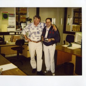Picture of Manuel Mesa Lopez, on the day of his retirement with the executive of the Claas factory. 30/08/1997, Hersenwinkel, Germany.