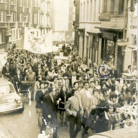 The demonstration for rescuing Juliano Grimao which became protest for his murder. Brussels. 20.04.1963