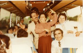 Manuel Ramirez with a group of Spanish emigrants, returning from an excursion. Brussels 1980