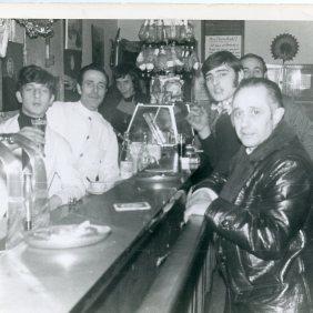 Manuel Ramirez working at the bar of the club F. Garcia Lorca. Brussels 1973.