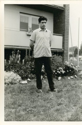 Portrait of an emigrant worker outside Opel's residence. Nuremberg 1966 -1967