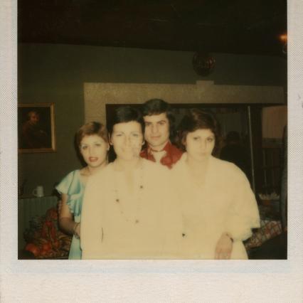 Aphrodite (right) with friends at Port-de-Bouc (1975)