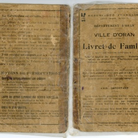 Family book Emmanuel's parents Zaragoza, husband   Xrissoula, issued admnistración by the French in Oran