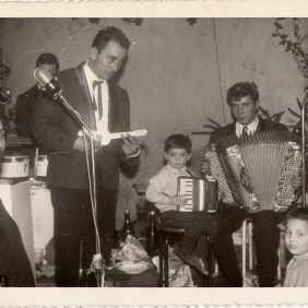 Bruno Cargnello, last one from the left, with the accordion. Monceau-sur-Sambre 1965