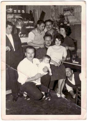 Mario and Maria Blasutig photographed in 1955, the first year of emigration at Herstal in Belgium at an inn at the mine