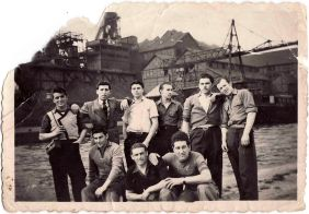 Blasutig Mario and friends at the mine Tamines towards the end of the fifties