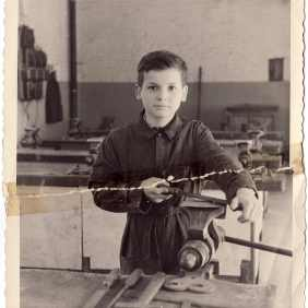 Portrait of Luciano Rizzi at the Technical School of Tubize to early sixties
