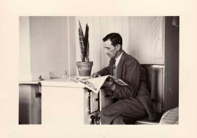 Luigi Zuliani at his home in Armentieres in the first half of the fifties