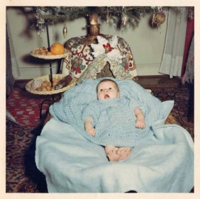 Josette Maria Bonesso her first Christmas. Lorena, Meurthe-et-Moselle , Villerupt 1961