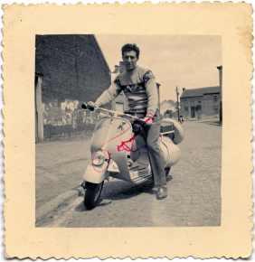 Portrait of Vanez Felice with the Vespa. Belgium 1950