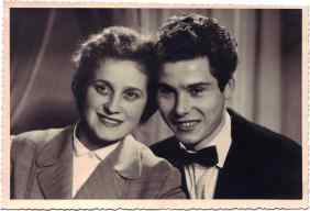 Portrait of Mafalda Bunello along with future husband Romano Peresani.   They met in Zurich. 1957