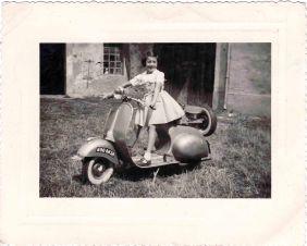 Portrait of Merina Treppo on a scooter. Lyon 1954