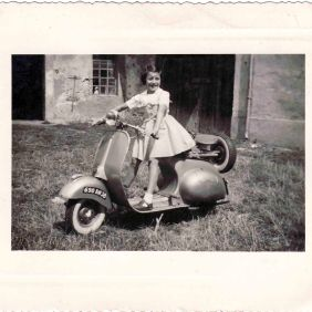 Portrait of Merina Treppo on a scooter. Lyon 1954