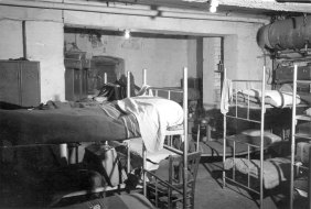 Inside the barracks dormitory accommodation where they found the first Friulian arrived in Saarbruecken. 1955/56