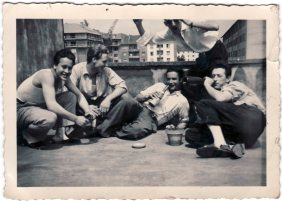 Friulian emigrants on the terrace housing. Saarbruecken 1956