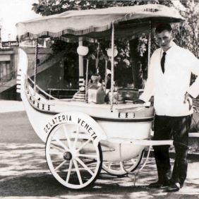 Ice cream man in Trentino before leaving for Germany.1964