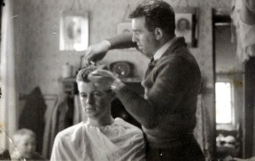 Portrait of Nicesio Fantini to work as a hairdresser.1952