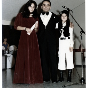 Eleonora Marrone. Singing contest: the man in the middle is my father, who always loved to sing opera…