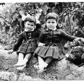 Eleonora Marrone. My sister Maria Grazia and I. The photo was sent to Dad in Wolfsburg